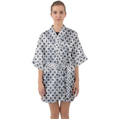 Black White Background Pattern Quarter Sleeve Kimono Robe by AnjaniArt