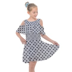 Black White Background Pattern Kids  Shoulder Cutout Chiffon Dress by AnjaniArt