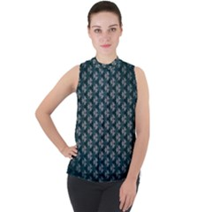 Texture Background Pattern Mock Neck Chiffon Sleeveless Top by Alisyart