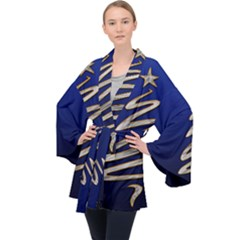 Christmas Tree Grey Blue Velvet Kimono Robe