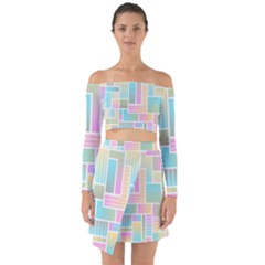 Color Blocks Abstract Background Off Shoulder Top With Skirt Set