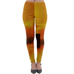 City Sun Clouds Smog Sky Yellow Lightweight Velour Leggings by Desi8477