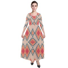 Tribal Signs 2            Quarter Sleeve Maxi Velour Dress