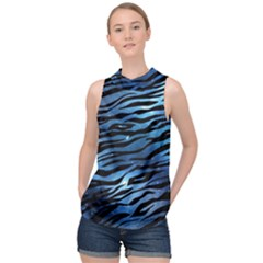Funny Galaxy Tiger Pattern High Neck Satin Top by tarastyle