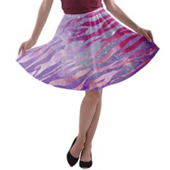 Funny Galaxy Tiger Pattern A Line Skater Skirt by tarastyle