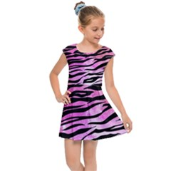 Funny Galaxy Tiger Pattern Kids  Cap Sleeve Dress by tarastyle