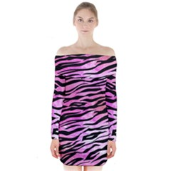Funny Galaxy Tiger Pattern Long Sleeve Off Shoulder Dress