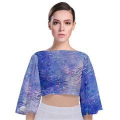 Funny Galaxy Tiger Pattern Tie Back Butterfly Sleeve Chiffon Top