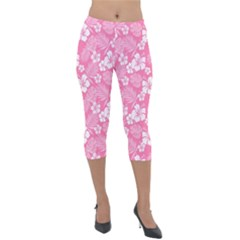 Colorful Tropical Hibiscus Pattern Lightweight Velour Capri Leggings  by tarastyle