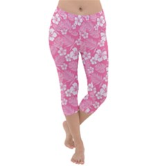Colorful Tropical Hibiscus Pattern Lightweight Velour Capri Yoga Leggings by tarastyle