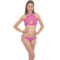 Colorful Tropical Hibiscus Pattern Cross Front Halter Bikini Set