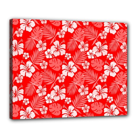 Colorful Tropical Hibiscus Pattern Canvas 20  X 16  (stretched)