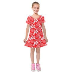 Colorful Tropical Hibiscus Pattern Kids  Short Sleeve Velvet Dress by tarastyle