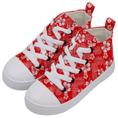 Colorful Tropical Hibiscus Pattern Kids  Mid Top Canvas Sneakers by tarastyle
