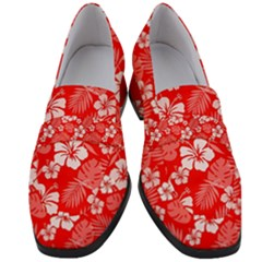 Colorful Tropical Hibiscus Pattern Women s Chunky Heel Loafers by tarastyle