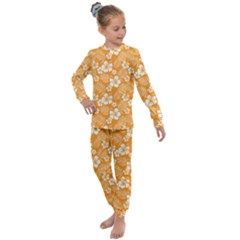 Colorful Tropical Hibiscus Pattern Kids  Long Sleeve Set  by tarastyle