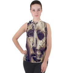 Creepy Photo Collage Artwork Mock Neck Chiffon Sleeveless Top