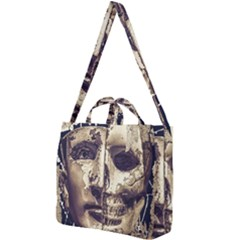 Creepy Photo Collage Artwork Square Shoulder Tote Bag by dflcprintsclothing