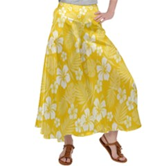 Colorful Tropical Hibiscus Pattern Satin Palazzo Pants by tarastyle