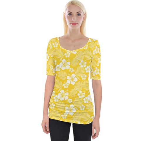 Colorful Tropical Hibiscus Pattern Wide Neckline Tee by tarastyle