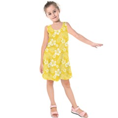 Colorful Tropical Hibiscus Pattern Kids  Sleeveless Dress by tarastyle