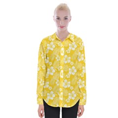 Colorful Tropical Hibiscus Pattern Womens Long Sleeve Shirt by tarastyle
