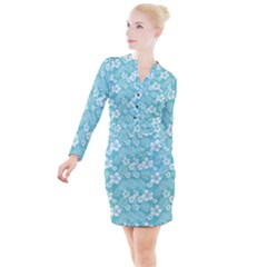Colorful Tropical Hibiscus Pattern Button Long Sleeve Dress by tarastyle