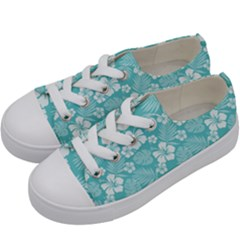Colorful Tropical Hibiscus Pattern Kids  Low Top Canvas Sneakers by tarastyle