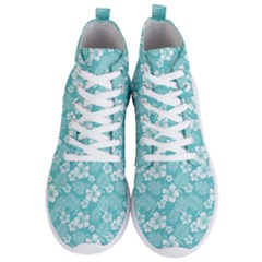 Colorful Tropical Hibiscus Pattern Men s Lightweight High Top Sneakers