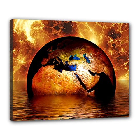 Earth Globe Water Fire Flame Canvas 20  X 16  (stretched)
