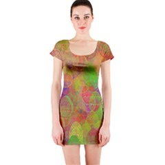 Easter Egg Colorful Texture Short Sleeve Bodycon Dress