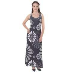 Floral Pattern Sleeveless Velour Maxi Dress