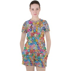 Floral Flowers Abstract Art Women s Tee And Shorts Set