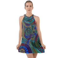 Fractal Abstract Line Wave Halter Tie Back Chiffon Dress