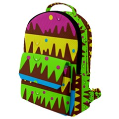 Illustration Abstract Graphic Rainbow Flap Pocket Backpack (small)
