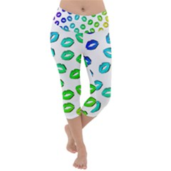 Kiss Mouth Lips Colors Lightweight Velour Capri Yoga Leggings