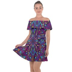 Kaleidoscope Triangle Curved Off Shoulder Velour Dress