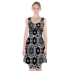 Black White Abstract Flower Racerback Midi Dress by retrotoomoderndesigns