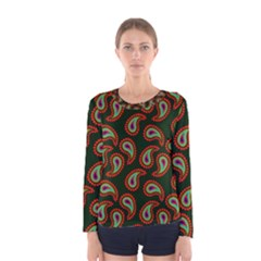 Pattern Abstract Paisley Swirls Women s Long Sleeve Tee by AnjaniArt