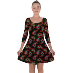Pattern Abstract Paisley Swirls Quarter Sleeve Skater Dress