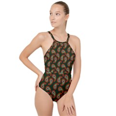 Pattern Abstract Paisley Swirls High Neck One Piece Swimsuit by AnjaniArt