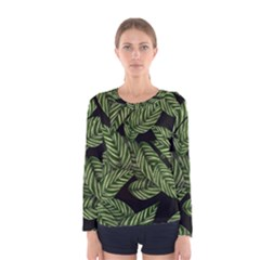 Leaves Painting Black Background Women s Long Sleeve Tee