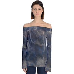 Marble Surface Texture Stone Off Shoulder Long Sleeve Top by Desi8477