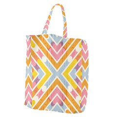 Line Pattern Cross Print Repeat Giant Grocery Tote