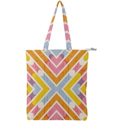 Line Pattern Cross Print Repeat Double Zip Up Tote Bag