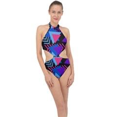 Memphis Pattern Geometric Abstract Halter Side Cut Swimsuit