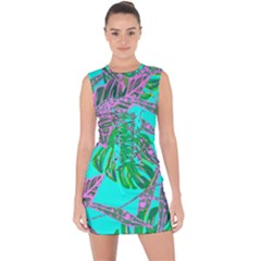 Painting Oil Leaves Nature Reason Lace Up Front Bodycon Dress