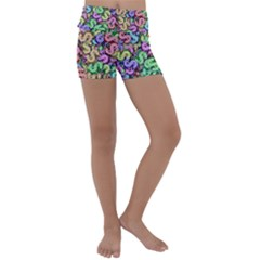 Money Currency Rainbow Kids  Lightweight Velour Yoga Shorts