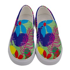 Pattern Leaf Polka Floral Women s Canvas Slip Ons