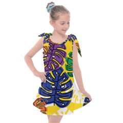 Pattern Leaves Grey Kids  Tie Up Tunic Dress
